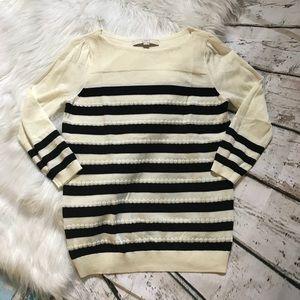 LOFT 3/4 Sleeved Black & Ivory Top